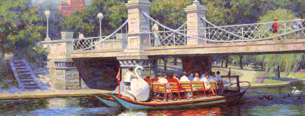 Canvas print of the oil painting Boston Garden Swan Boats art for sale by the artist Bi Wei Liang