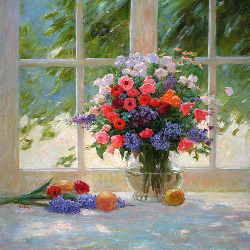 Canvas print, painting titled Bouquet by the Window by the artist Bi Wei Liang Tronolone