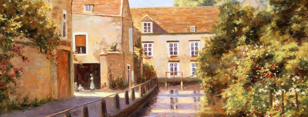 Canvas print of the oil painting Cablis Canal art for sale by the artist Bi Wei Liang