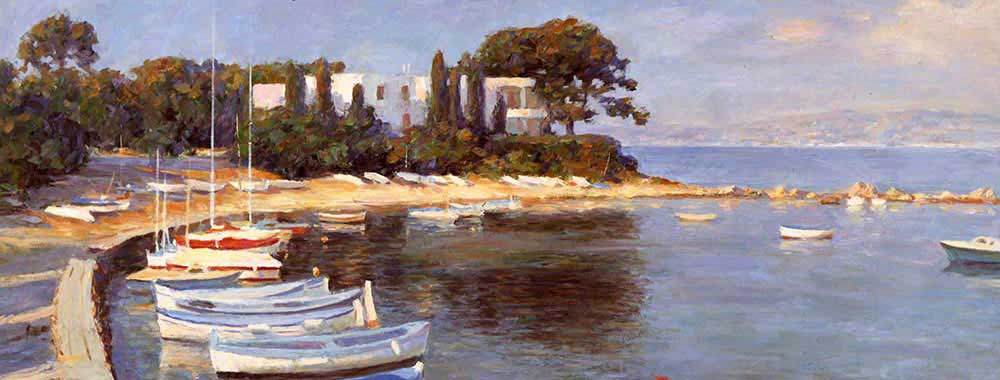 Canvas print of the oil painting Cannes, France art for sale by the artist Bi Wei Liang