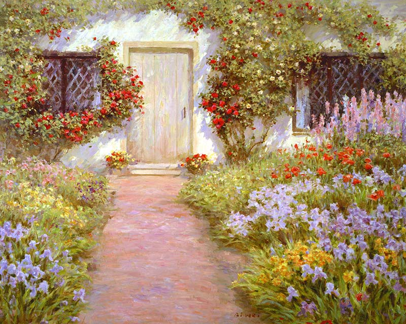 Canvas print, painting titled English Cottage by the artist Bi Wei Liang Tronolone