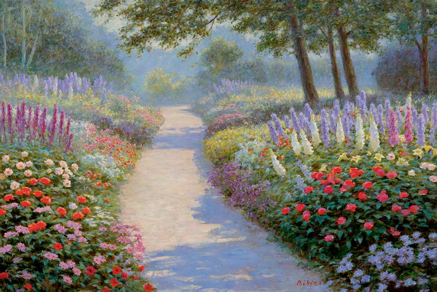 Canvas print, painting titled Sunny Pathway by the artist Bi Wei Liang Tronolone