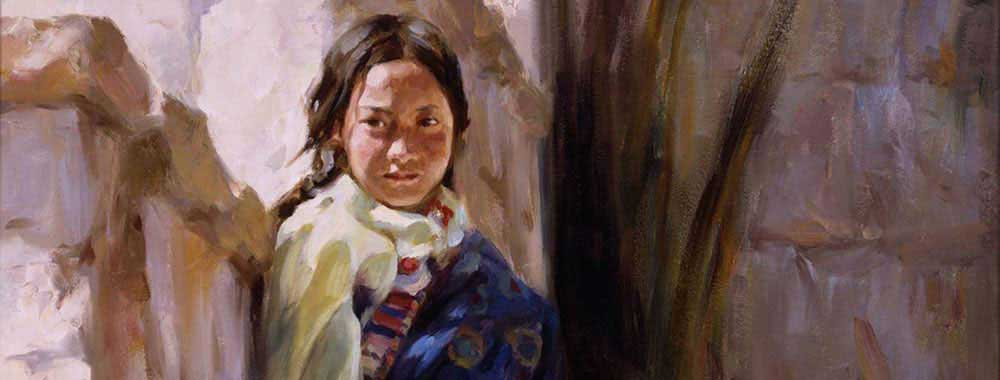 Canvas print of the oil painting of Tibetean-Girl art for sale by the artist Bi Wei Liang