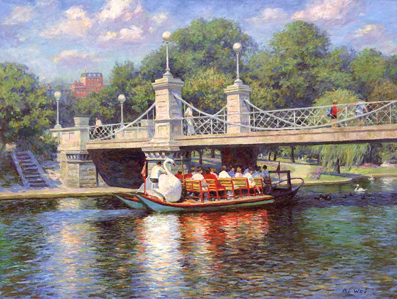 Canvas print, painting titled Boston Garden Swan Boats by the artist Bi Wei Liang Tronolone