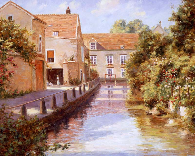 Canvas print, painting titled Cablis Canal by the artist Bi Wei Liang Tronolone
