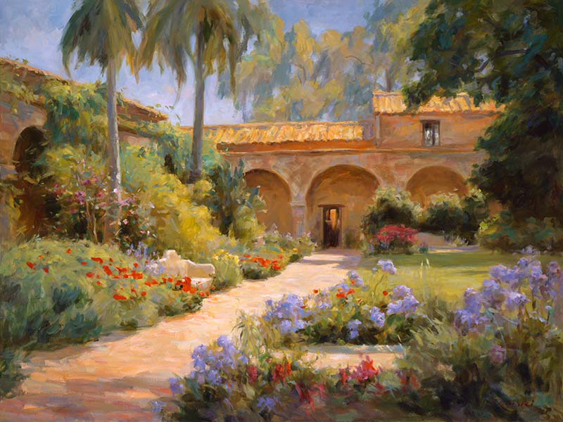 Canvas print, painting titled Cappistrano Mission by the artist Bi Wei Liang Tronolone