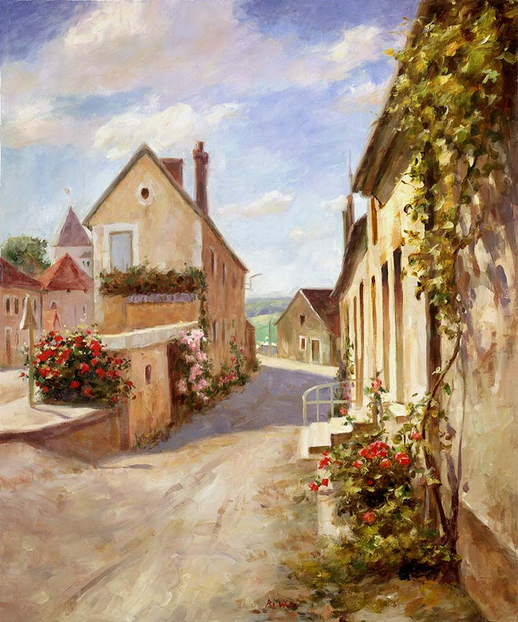 Canvas print, painting titled Chablis Village by the artist Bi Wei Liang Tronolone