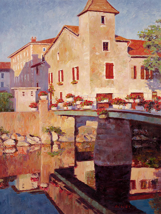 Canvas print, painting titled Near Lyons France by the artist Bi Wei Liang Tronolone