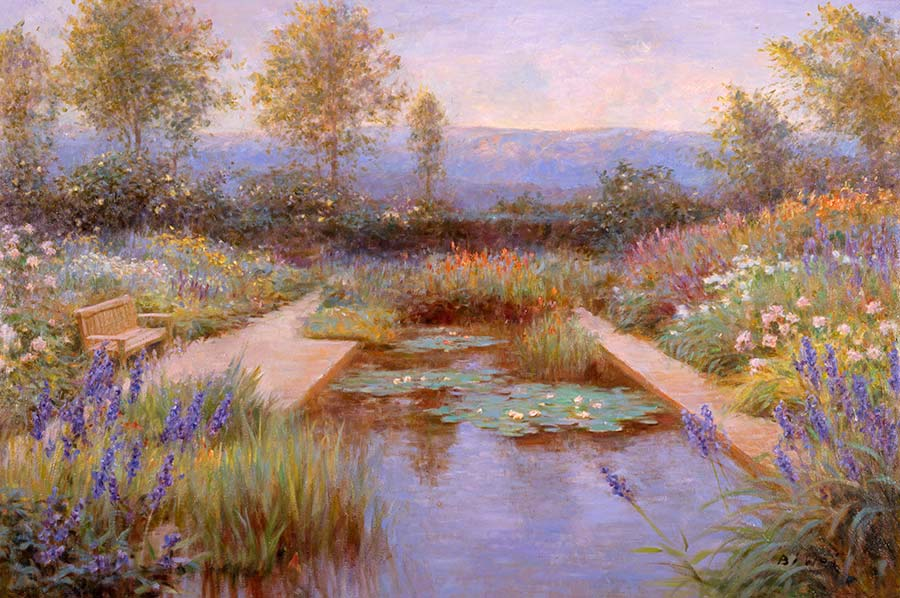 Canvas print, painting titled Summer Pond by the artist Bi Wei Liang Tronolone