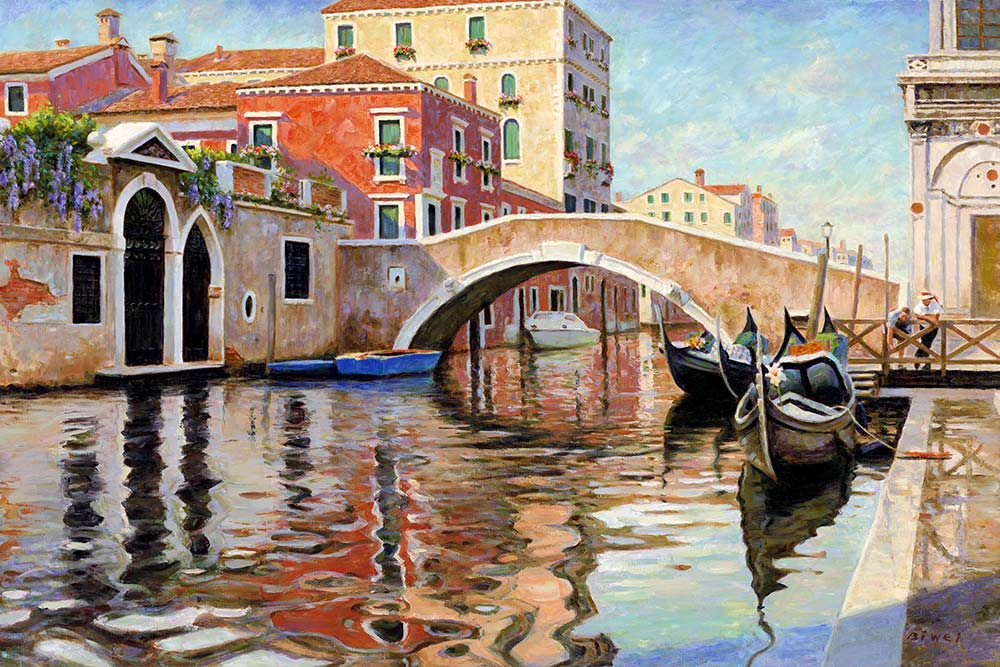 Canvas print, painting titled Venice Canal by the artist Bi Wei Liang Tronolone