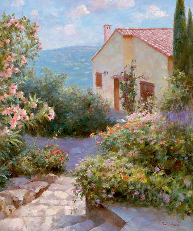Canvas print, painting titled Villa Garden by the artist Bi Wei Liang Tronolone