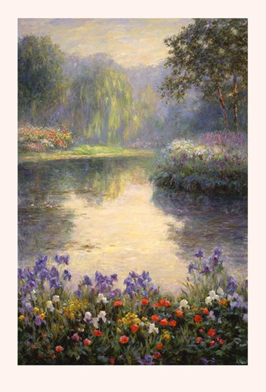 Poster Print, painting titled Morning by the Pond by the artist Bi Wei Liang Tronolone